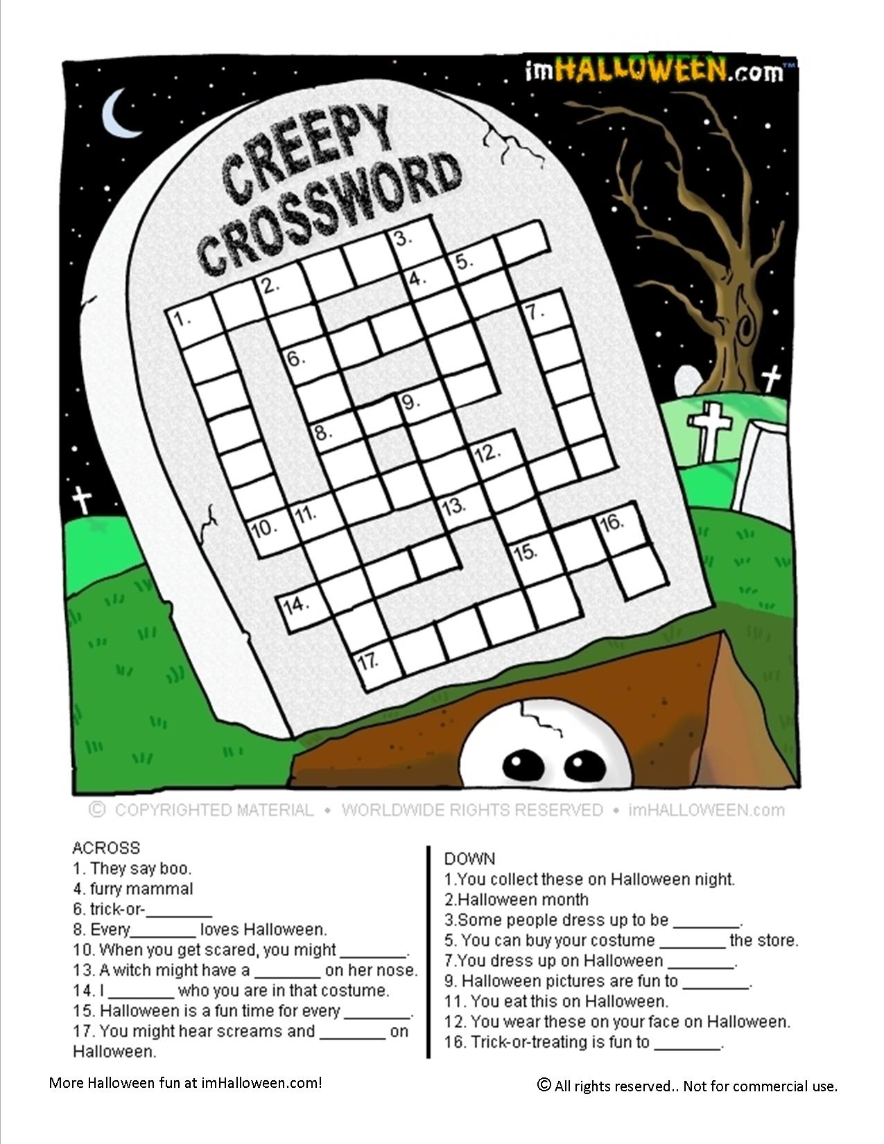 Creepy Halloween Crossword Puzzle