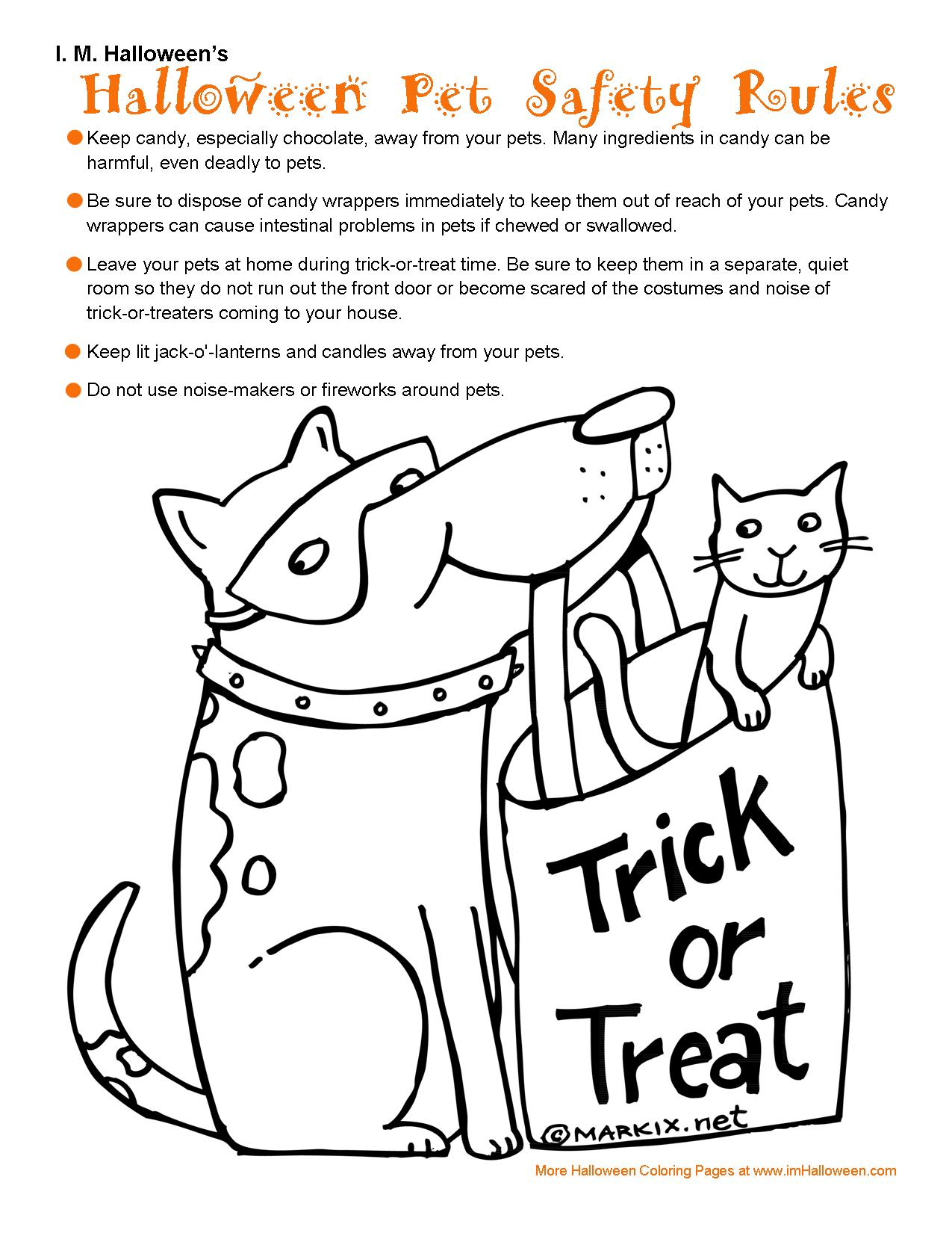 Halloween Pet Safety Coloring Page