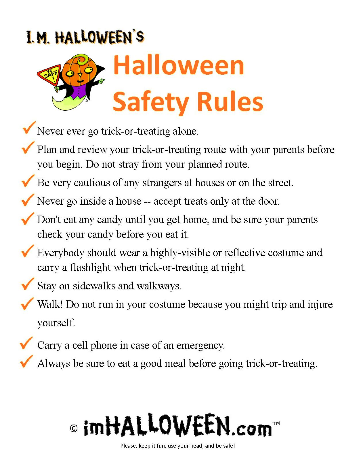 printable halloween safety rules - Halloween Safety Printables