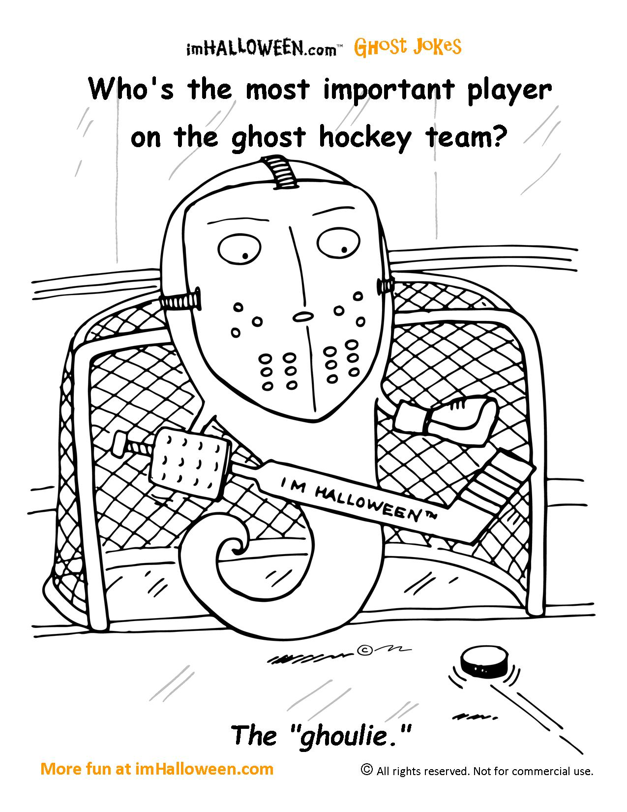 ghost hockey coloring page