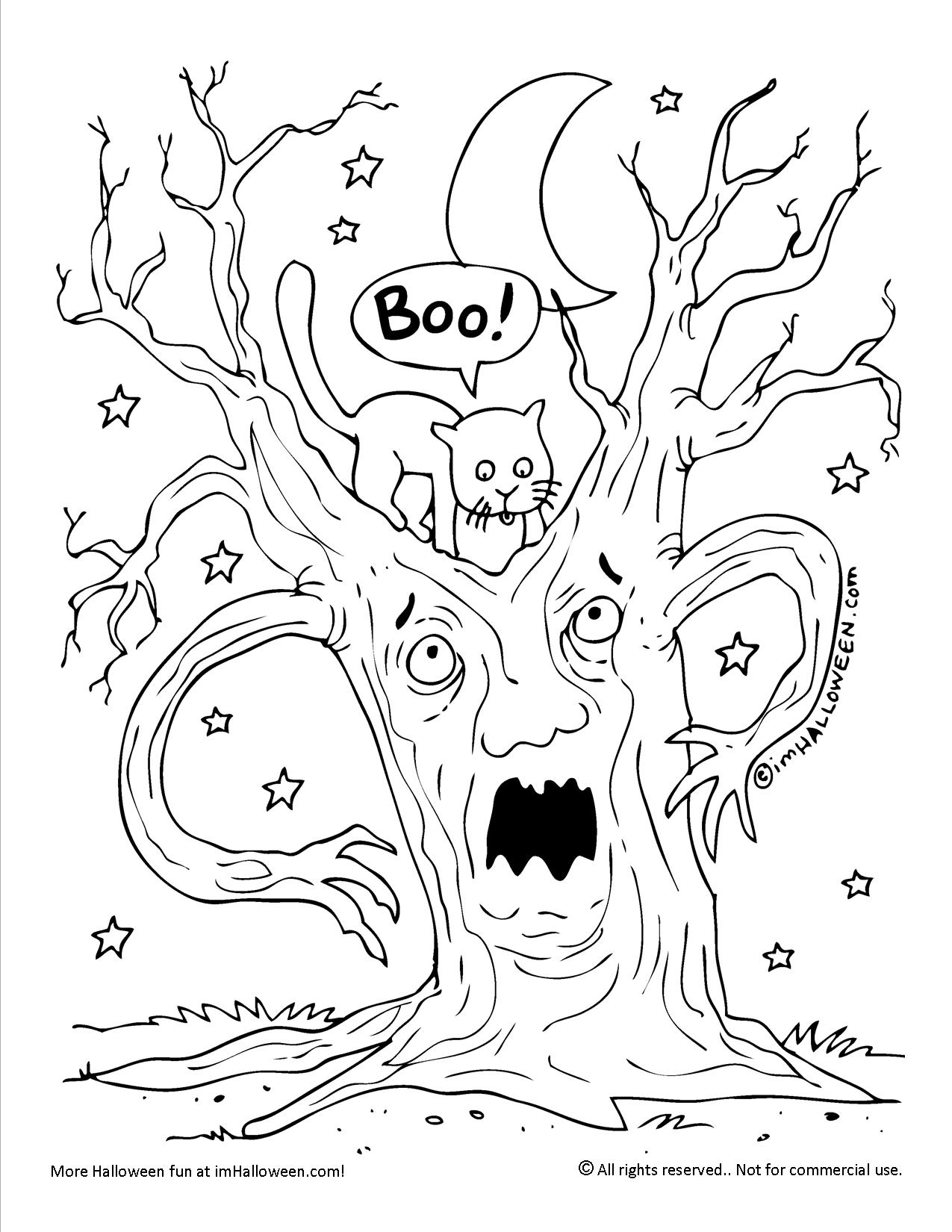 Halloween Spooky Tree Face.Scary Tree Halloween Coloring Page