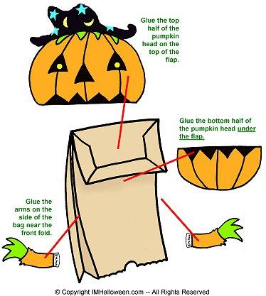 pumpkin paper bag puppet free